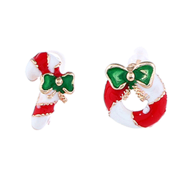 Xmas Jewelry Enamel Santa Claus Ear Stud Earring Christmas Gift Box Earrings
