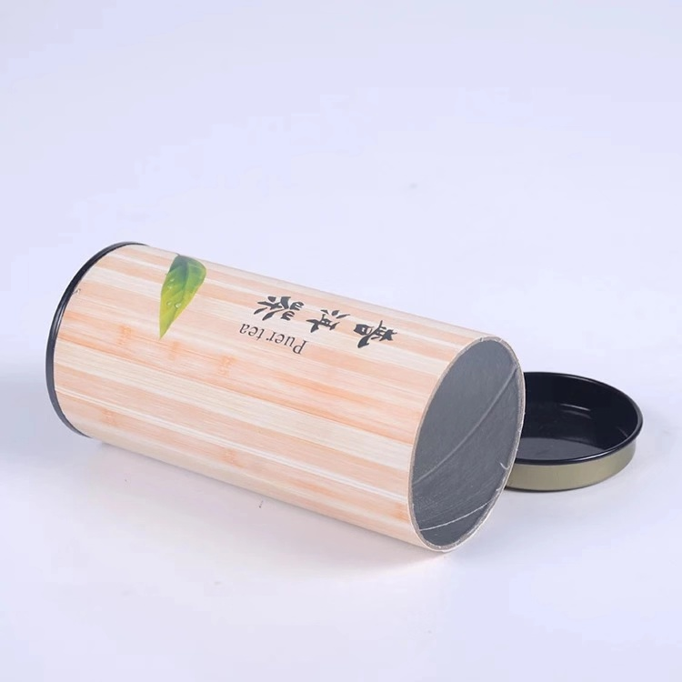 Wholesale Custom Kraft Core Tube Tinplate Cover Tea Food Grade Paper Tube Box Packaging