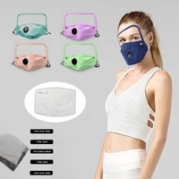 New reusable cotton protection face mask with eye shield and breathing valve washable solid color fashion mask with pm2.5 filter