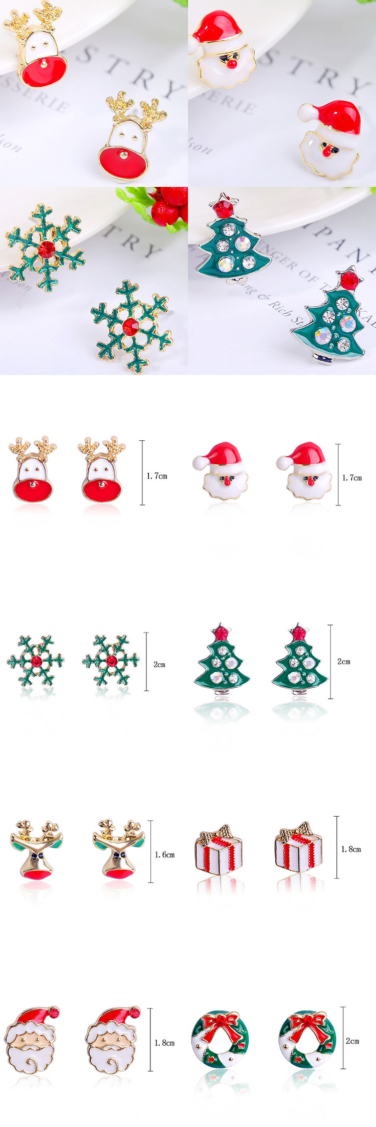 XULIN Popular alloy + Rhinestone Christmas elk Snowflake Earrings Christmas earring set combination set