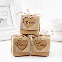 Cheap Wedding Favors Love Heart Candy Gift Box Kcraft Bonbonniere Paper Gift Boxes with Burlap for Birthday Christmas Party
