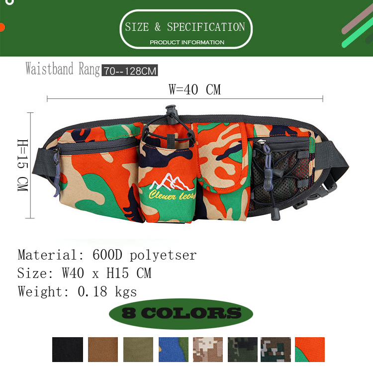 Outdoor Waist Packs Camouflage Design Running Bag Mutil Pockets Bum Bag Wholesales Hiking Camping Sports Waist Bags