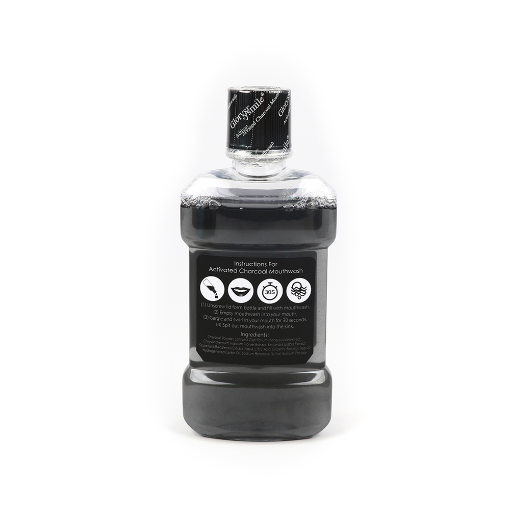 GlorySmile Free Alcohol Fresh Breath 250ml Natural Mint Flavour Activated Charcoal Mouthwash With Plastic Bottle