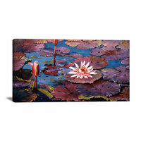 Traditional scenery art painting Hand painted Bright Colored Canvas Oil Famous Lotus Picture