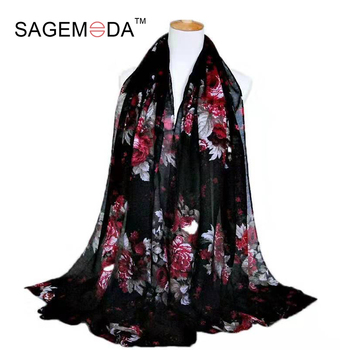2021 Plain Embroidered Floral Cotton Scarf Shawl From Indian Bandana Print Cotton Scarves and Wraps Foulards Sjaal Muslim Hijab