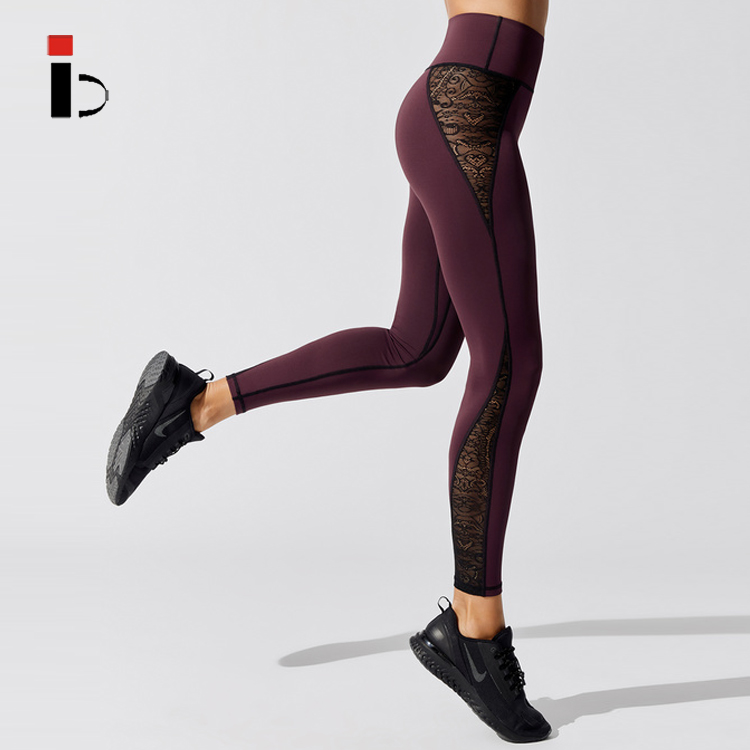 New Women Fashion Sports Fitness Lace Insert Gym Yoga Leggings