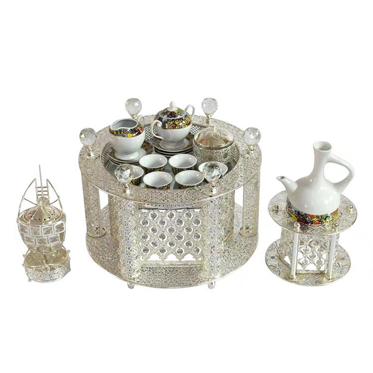 De lujo de alta calidad de uso del hotel etíope mesa de metal con tazas para venta
