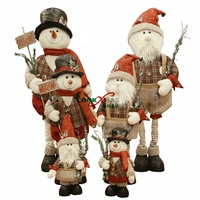 Cute Christmas Plush Toy Long Leg Sitting Santa Clause Snowman Doll Christmas Ornaments