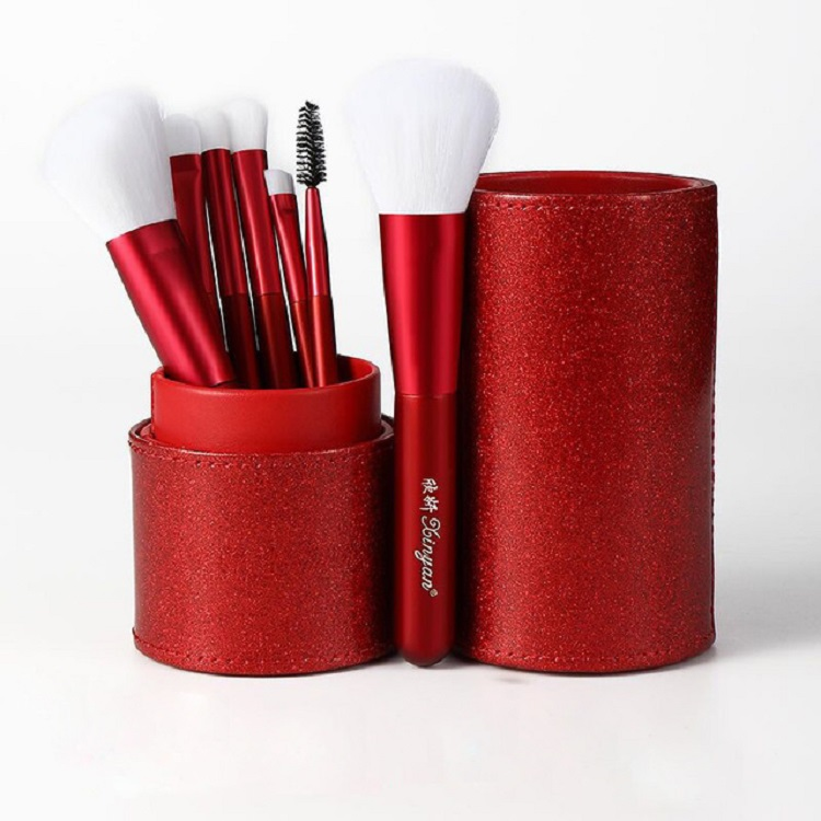 Banfi Red 7pcs wooden <strong>high</strong> <strong>quality</strong> <strong>makeup</strong> <strong>brush</strong> set in cylinder PU case colorful <strong>makeup</strong> <strong>brushes</strong> for daily <strong>makeup</strong> use