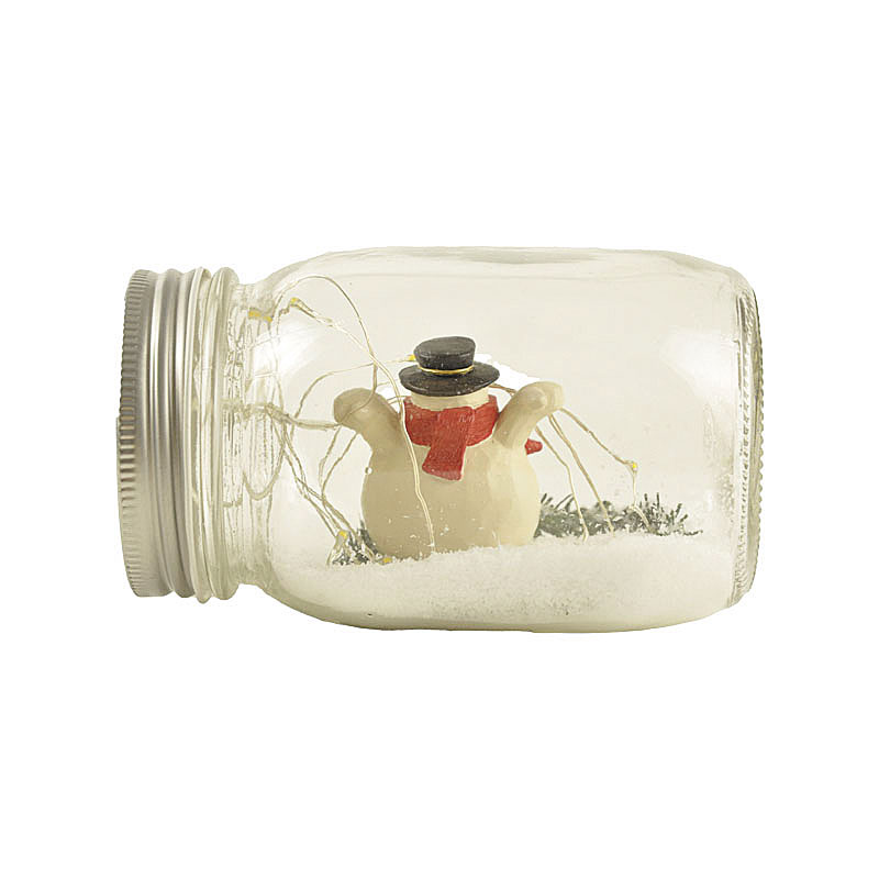 New custom design personalized cute Polyresin decor snowman in 500 ml glass jar with LED fairy light