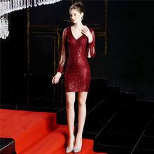 It's Yiiya платье с v-образным вырезом для выпускного вечера с длинным рукавом блестки, молния Vestidos De Gala DX242 размера плюс мини-Выпускные платья 2020(China)