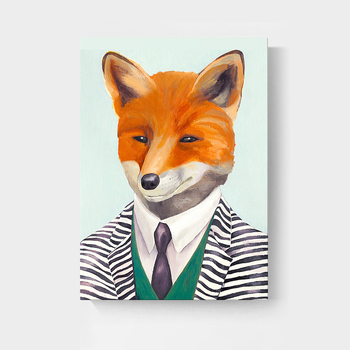 Modern Animal Cartoon Mr. fox portrait wall painting art canvas prints on canvas