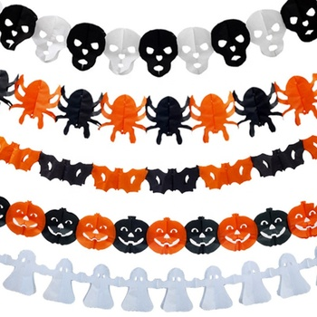 3M Halloween Banner Ghost Festival Decoration Props Ghost Spider Pulling Flag Strip Pumpkin Paper Lace Party Decoration