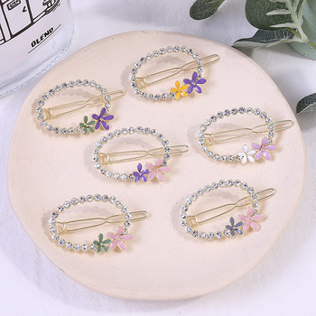 custom packing new design wholesale price barrettes women hair accessories crystal diamond flower hair clip for girls