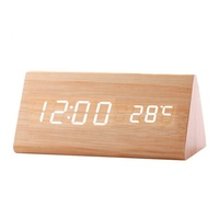 KH-WC007 Modern Exquisite Digital LED Calendar Thermometer Voice Desk Wooden Alarm Clock