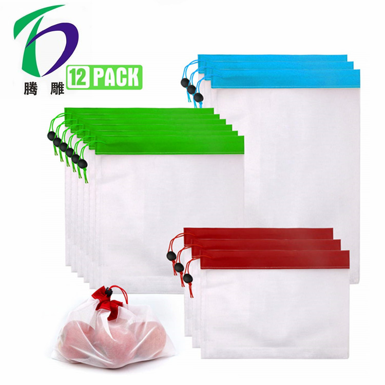 Custom reusable nylon mesh white drawstring fruit vegetable produce bags