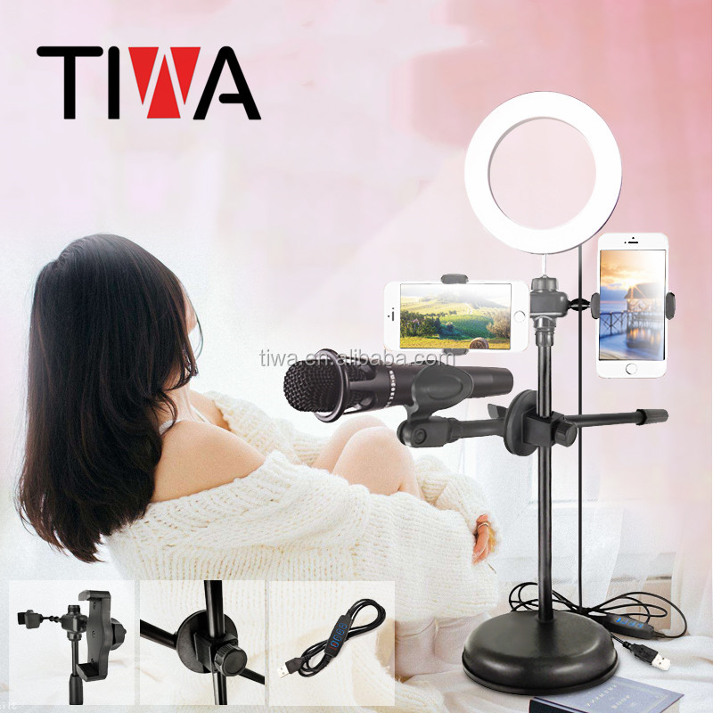 livestream microphone stand with cellphone holder led ringlight