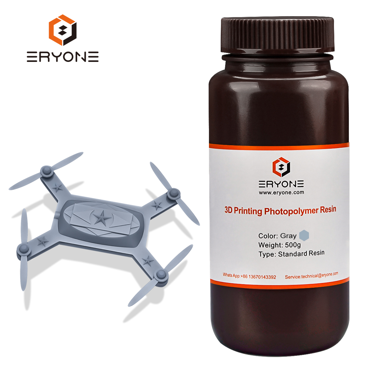 ERYONE Gris 3D Imprimante Résine avec Super Faible Odeur et Couleur De Mélange disponibles, 405nm UV Résine avec Haute Précision et Durcissement Rapide