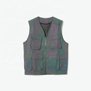 Custom high quality fashion black director vest men with multiple pockets