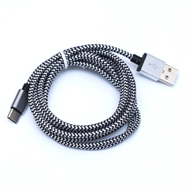 1M 3FT  Metal Copper Micro USB Charger Sync Data woven Braided cord Data Sync Charging cable For i6 X Xs Android Samsung Type c