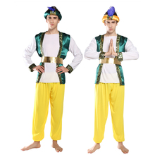 Costume <span class=keywords><strong>di</strong></span> <span class=keywords><strong>Halloween</strong></span> cosplay <span class=keywords><strong>di</strong></span> travestimento Indiano Aladdin costume adulto <span class=keywords><strong>di</strong></span> sesso maschile <span class=keywords><strong>di</strong></span> ruolo principe costume
