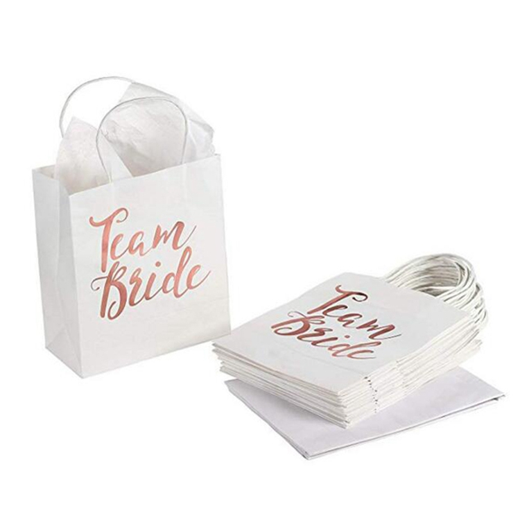Team Bride White Paper Gift Bag Bride Rose Gold Letter Printing Paper Bag with Handle