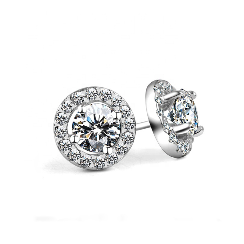 PUSHI fashion charm laser cut platinum <strong>earrings</strong> jewelry 0.5 to 1 caratst sun <strong>flower</strong> stud moissanite <strong>earrings</strong> for women