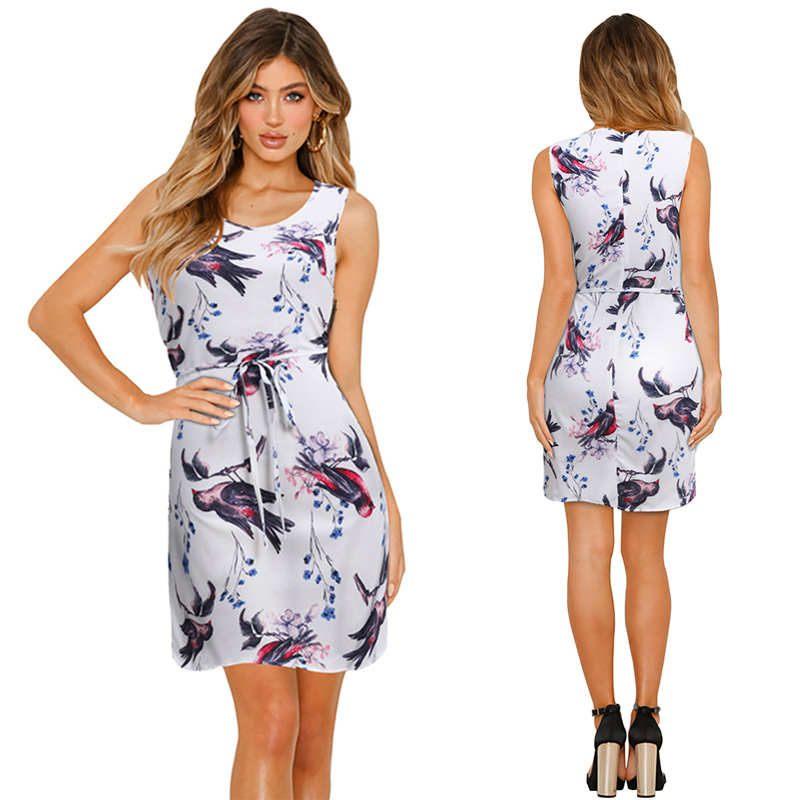 Summer  fashion Women Dress Print Casual Style Ladies Office Clothing Cheap Beach Sleeveless Dress
