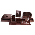 Excellent Handmade Leather Office Accessories Desk Leather Stationery Set