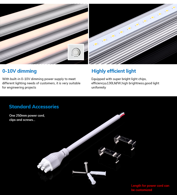 110Lm/W Linkable 25W 30W 44W Dimmable Led Linear Lights 0-10v modern office Surface Mounted Lighting Fixture 4000K Cool white