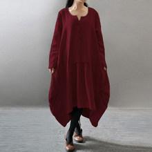 Женское винтажное платье-рубашка с длинным рукавом, повседневное свободное асимметричное платье средней длины большого размера 7, новинка ...(Китай)