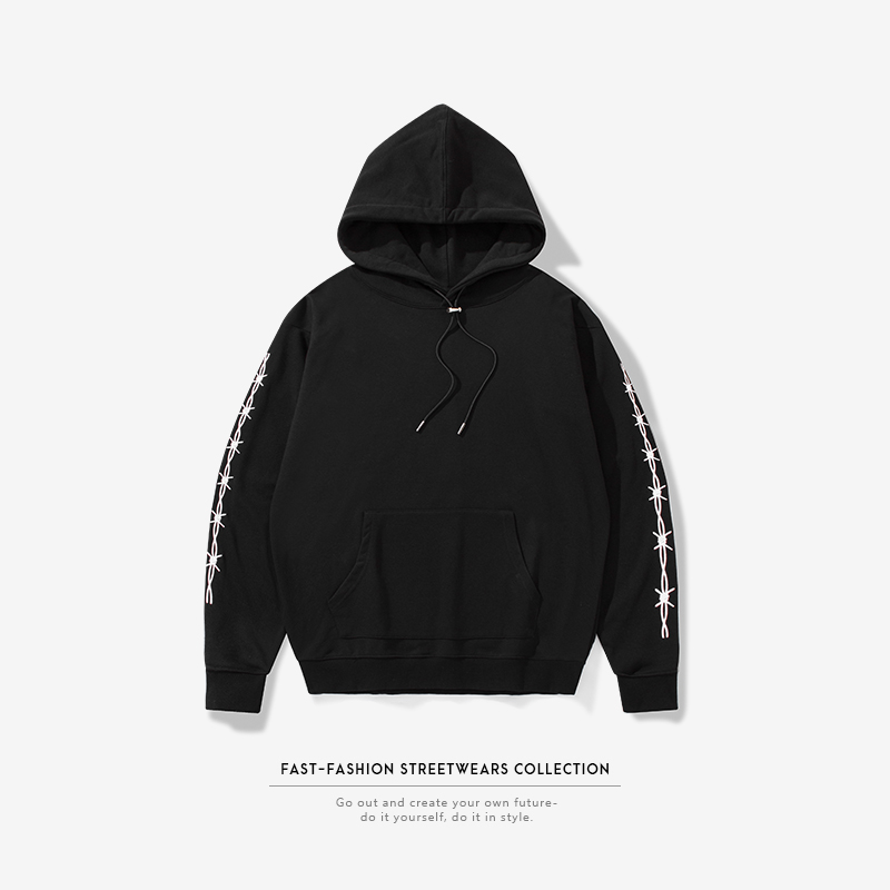 2020 新ファッションスタイルメンズ黒のスウェットシャツ冬春の摩耗カスタムロゴ特大パーカー