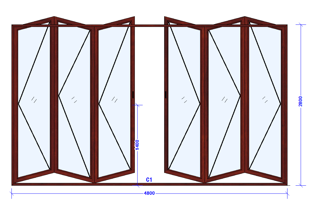 thermal break double Glass Patio Accordion Aluminum alloy frame Folding Door With Insect Screen