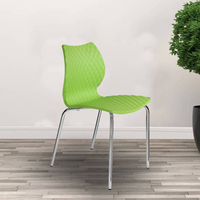 Modern simple design living room Metal Legs Plastic Seat and Back Dining Chairs
