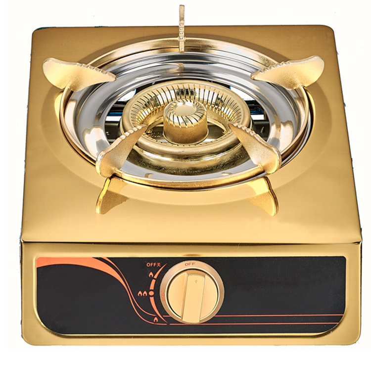 Outdoor mini gold fashion popular hot sale stainless steel table camping single big burner portable gas stove cooker