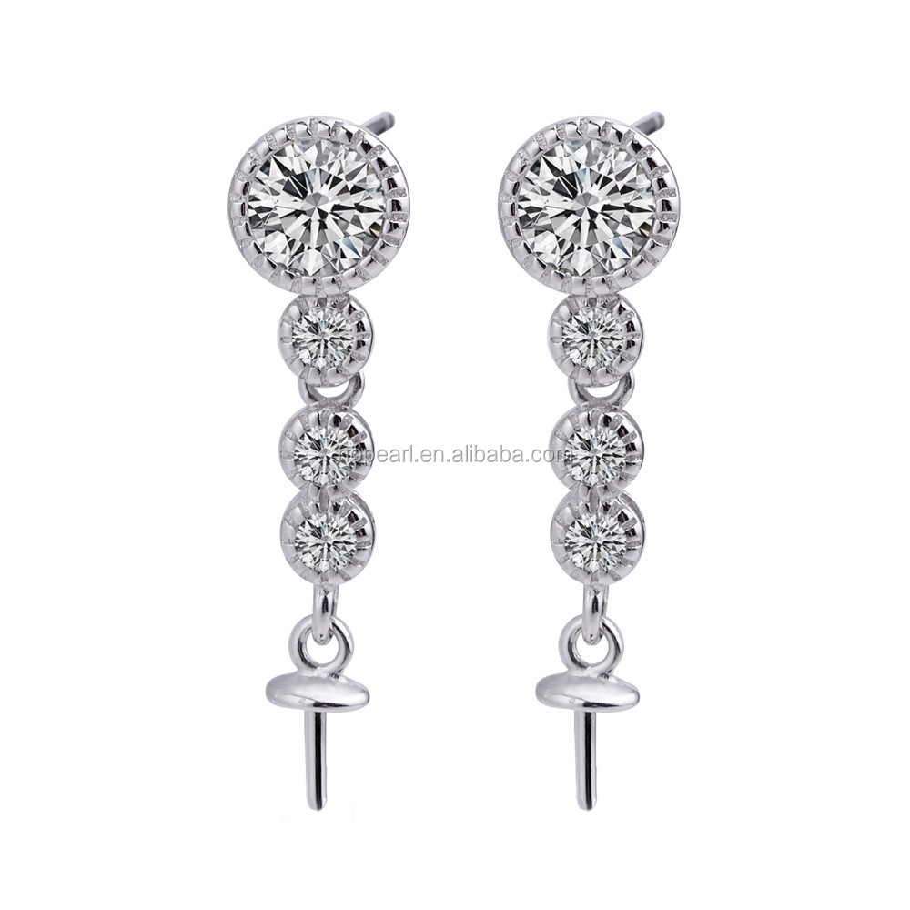 SSE238 Clear Cubic Zirconia CZ Eternity Engagement Wedding Pearl Bridal Earrings Findings Making Accessory