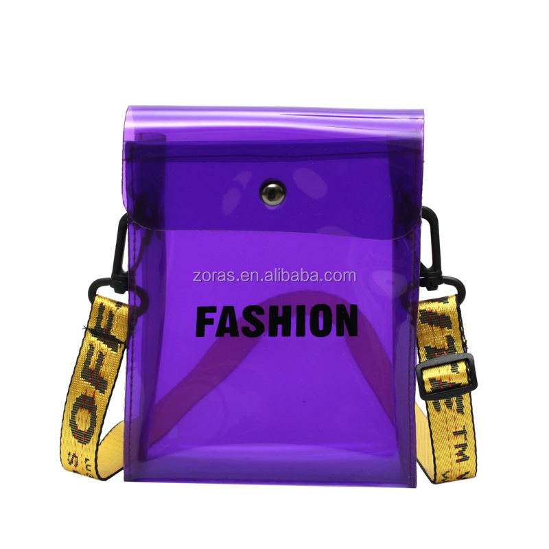 Custom Mobile Waterproof Pvc Transparent Jelly Bag Ladies Mobile Pouch For Out Door Activity