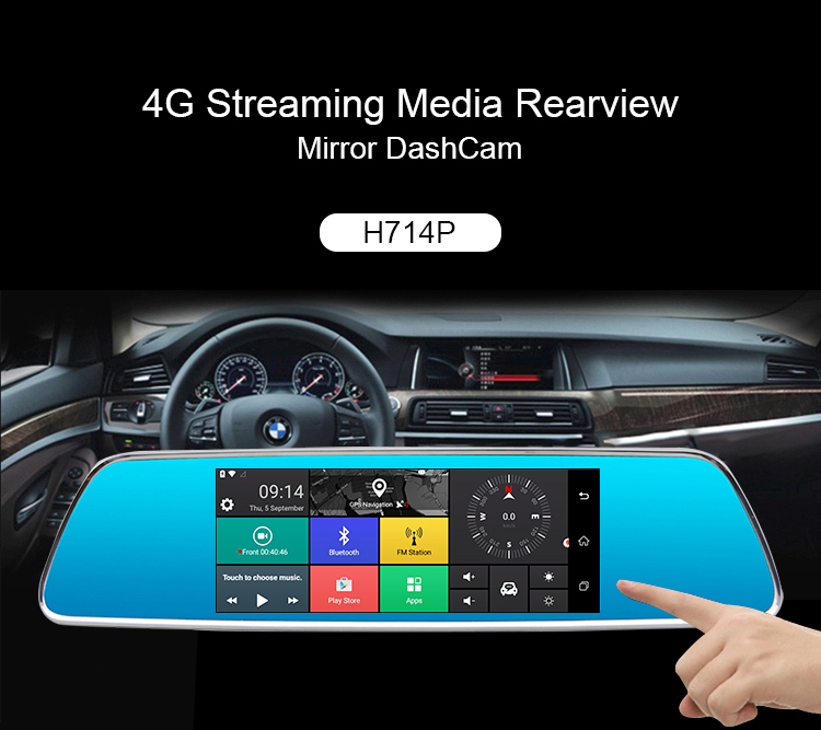 Hawkeye 7 inch 4G Android 5.1 GPS Navigation WiFi Blue tooth Phone Call 2G RAM DVR Rear View Dual Camera Dash Cam Mirror