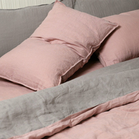 TINO Double color stitching Flax Linen Bedding set high quality flax linen bedding Pink and grey King
