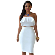 Nuovo disegno a due pezzi ruffle skirt set sexy white party club dress