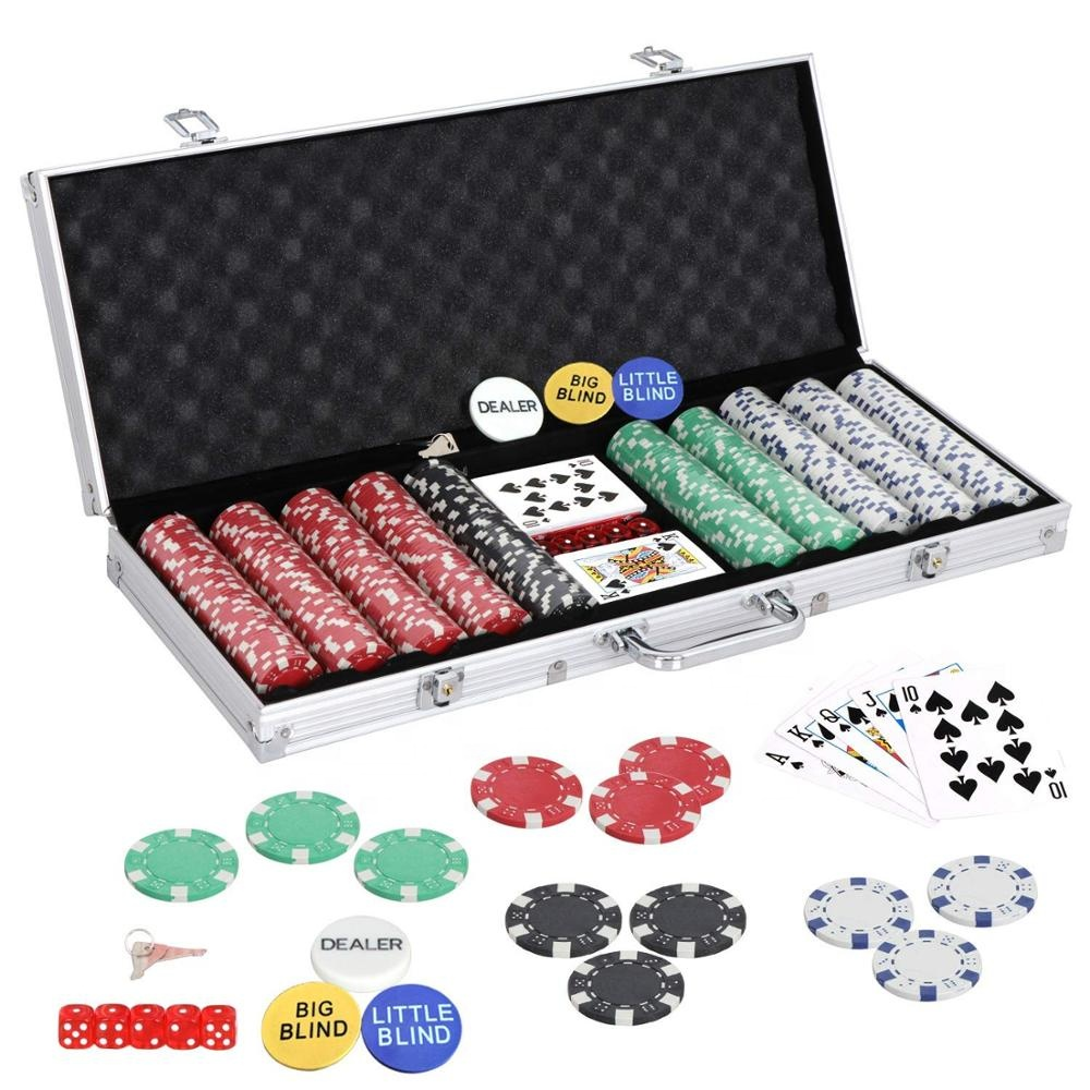500 casino Chip texas hold'em Stijl Poker Chip Aluminium Case Set