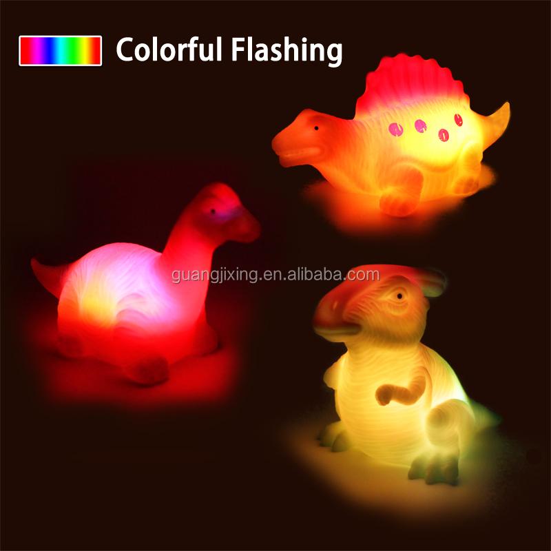 Hot Sale safety Plastic PVC Light Up Floating Baby Shower Dinosaur toys set bath toy