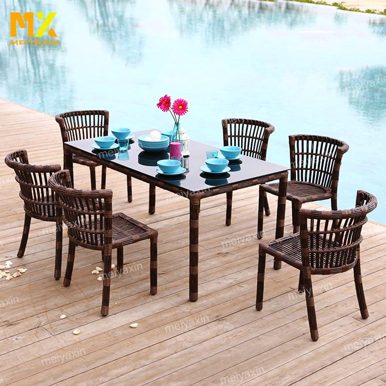 MYX अवकाश आउटडोर उद्यान रतन/विकर खाने की मेज सेट फर्नीचर (स्वीकार अनुकूलित)