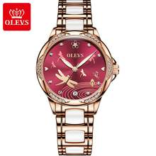 Новинка 2020!OLEVS женские часы, водонепроницаемые автоматические механические Женские часы, керамические часы, подарок для женщин(Китай)