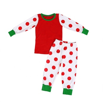 2019Hot sale pajamas wholesale clothes long sleeve dot design baby kids outfit