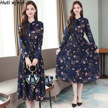 Винтажное шифоновое платье миди в стиле бохо с цветочным принтом на осень и зиму размера плюс, элегантное женское облегающее платье с длинн...(Китай)