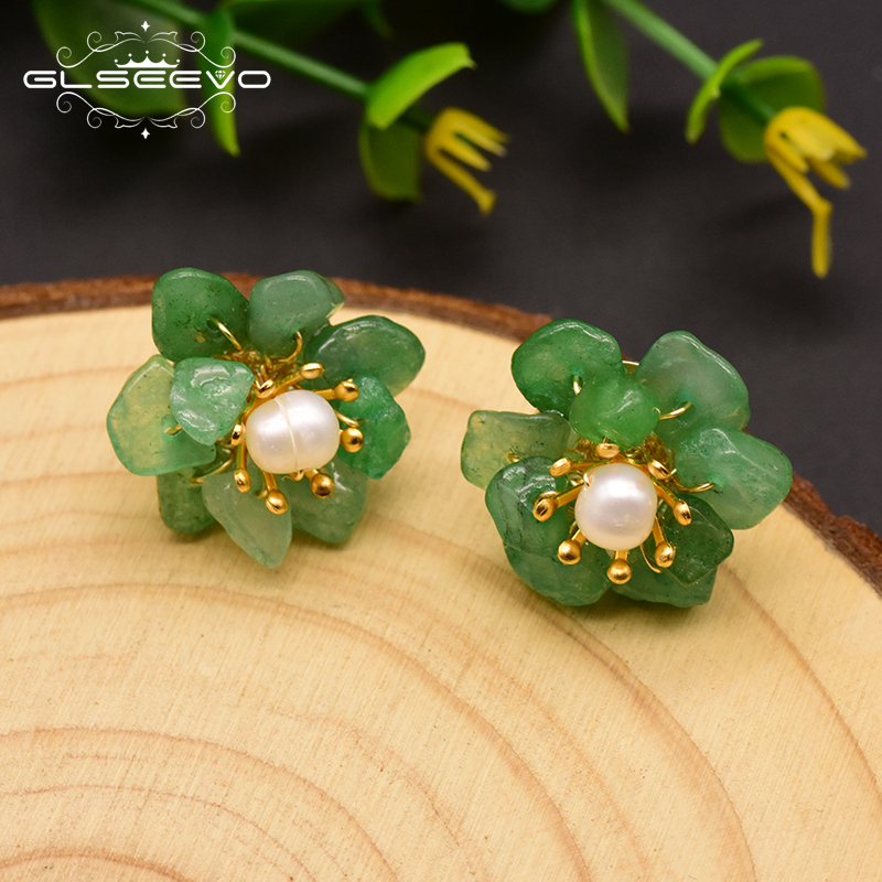GLSEEVO Natural Jade <strong>Pearl</strong> <strong>Stud</strong> <strong>Earrings</strong> For Women Mom Birthday Day Gift 925 Sterling Silver Flower <strong>Earring</strong> Fine Jewelry GE0780
