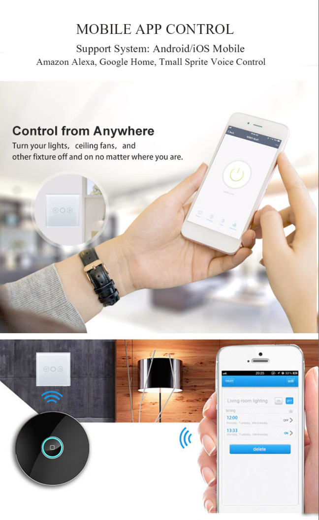 Smart Dimmer Light Control Wall Switch 220V, Led Light Dimmer Switch