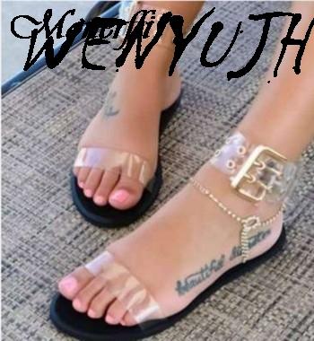 Litthing/2019 г.; босоножки; женская прозрачная обувь на плоской подошве; женская прозрачная обувь; женская пляжная обувь в римском стиле; Sandalias Mujer;...(Китай)