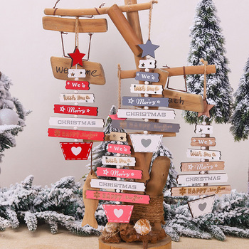 Merry Christmas Decoration Supplies Novelty Hanging Painted Letter Pendant Wooden Home Christmas Tree Ornament